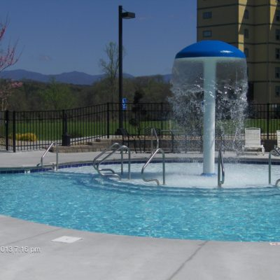 Spray pool with mountain view