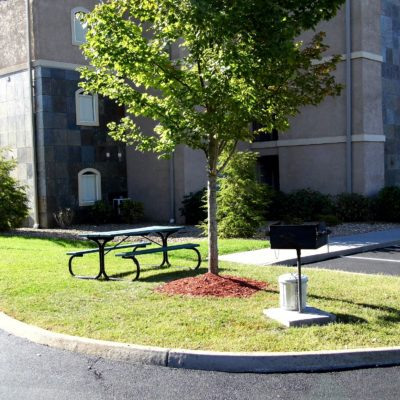 Picnic area at each building
